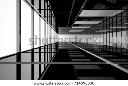 Abstract white and black interior multilevel public space with window. 3D illustration and rendering. #714898330