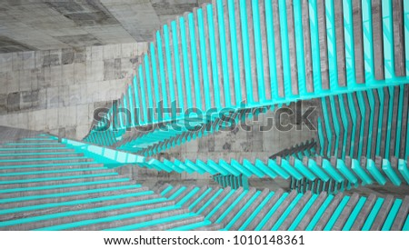 Abstract white and brown concrete parametric interior with blue glossy lines. 3D illustration and rendering. #1010148361
