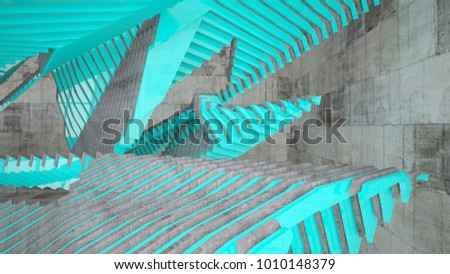 Abstract white and brown concrete parametric interior with blue glossy lines. 3D illustration and rendering. #1010148379