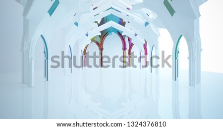 Abstract white and colored gradient glasses gothic interior. 3D illustration and rendering. #1324376810