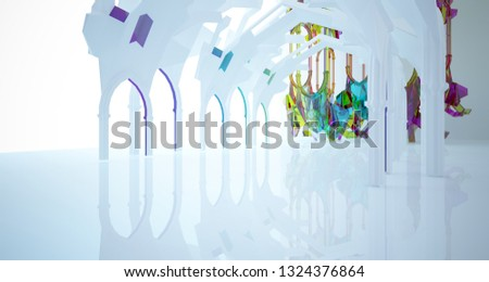 Abstract white and colored gradient glasses gothic interior. 3D illustration and rendering. #1324376864
