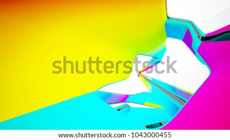Abstract white and colored gradient smooth interior with window. 3D illustration and rendering. #1043000455
