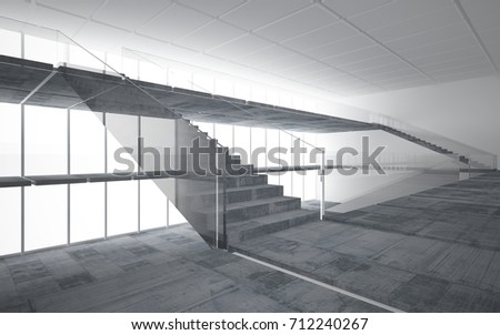 Abstract white and concrete interior multilevel public space with window. 3D illustration and rendering. #712240267