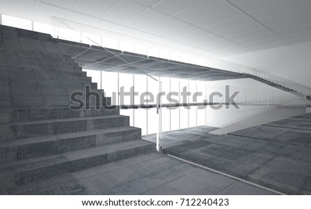 Abstract white and concrete interior multilevel public space with window. 3D illustration and rendering. #712240423