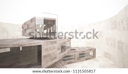 Abstract white and concrete interior  with glossy white lines. 3D illustration and rendering. #1131505817