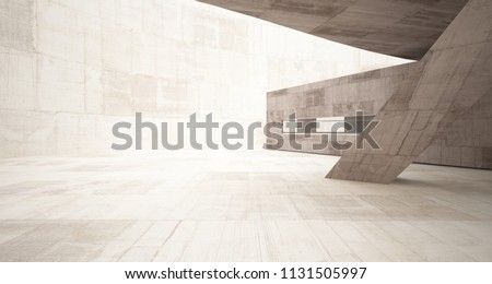 Abstract white and concrete interior  with glossy white lines. 3D illustration and rendering.