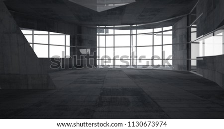 Abstract white and concrete parametric interior  with window. 3D illustration and rendering. #1130673974