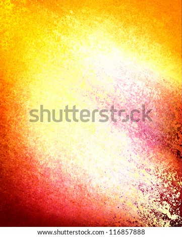 abstract white background, gold pink red yellow and orange color splash border with deep vintage grunge background texture, multicolor distressed whited out background with text copyspace for brochure