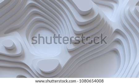 Abstract white background. Topography levels. Mapping relief design. 3d architectural render illustration. Geometry curve lines pattern. Futuristic concept. Paper or plaster surface.