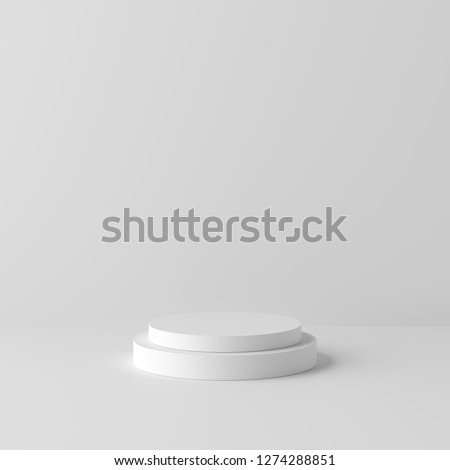 Abstract white background with geometric shape podium for product. minimal concept. 3d rendering