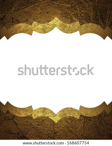 Abstract white background with gold edges with gold trim. Design template