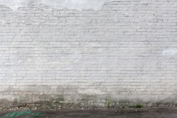 Abstract White Brick wall Urban Texture With Shabby Damaged