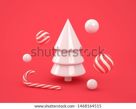 Abstract white christmas tree with candies on red background. Christmas, new year concept. 3D rendering