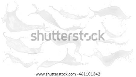 abstract white color or milk splash set isolated on white background #461101342