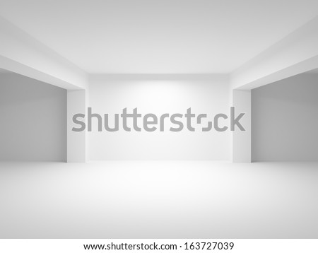 Abstract white empty interior perspective background. 3d illustration