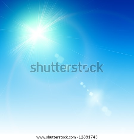 Abstract white flare over blue background - Shutterstock ID 12881743