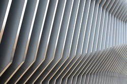 Abstract white gray metal wall, 3D metal futuristic surface, modern building design