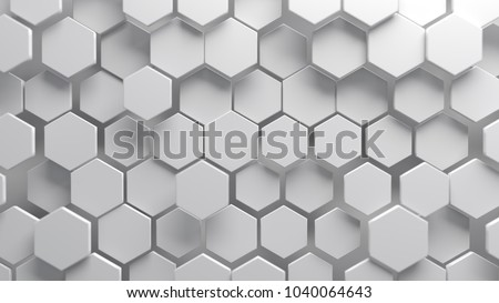Abstract white hexagonal background. Ceramic hex tiles. Interior design concept. 3d render illustration. Geometry pattern. Random cells. Polygonal glossy porcelain surface.