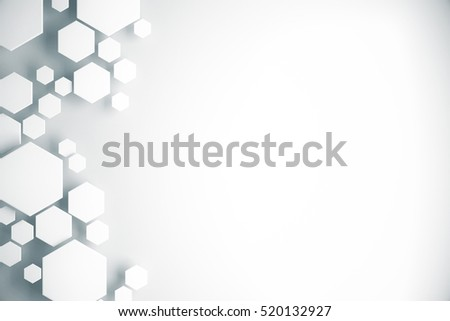 Abstract white honeycomb pattern on light background with copy space. Front view. 3D Rendering