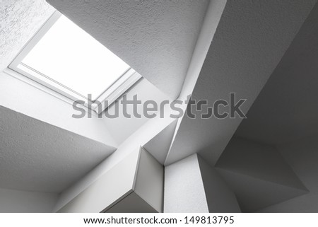 Abstract white interior fragment with ceiling, beams and window #149813795