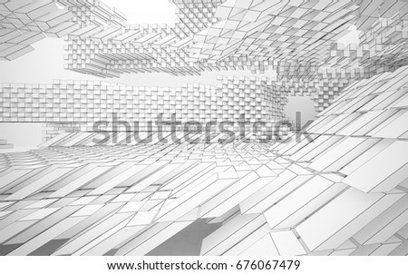 Abstract white interior highlights future. Polygon drawing . Architectural background. 3D illustration and rendering #676067479