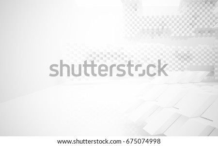 Abstract white interior of the future. 3D illustration and rendering #675074998