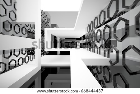 Abstract white interior of the future, with glossy black wall and floor. 3D illustration and rendering - Shutterstock ID 668444437