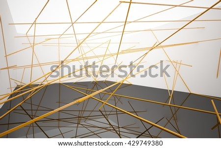 Abstract white interior with orange glossy lines. 3D illustration. 3D rendering - Shutterstock ID 429749380