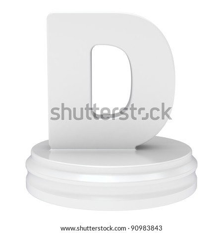 "Abstract white letter ""D"" isolated on white background."
