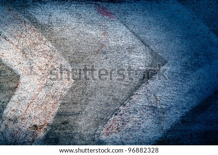 abstract white line as boomerang like on concrete texture