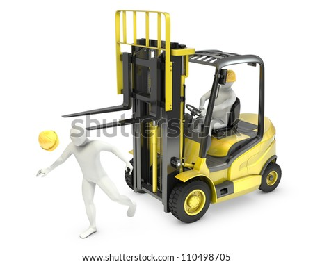 Abstract white man was hit by lift truck fork, due to safety violation, isolated on white background