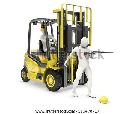 Abstract white man was injured by lift truck fork, due to safety violation, isolated on white background
