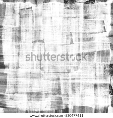 Abstract white painting on grunge black texture. Plaid aquarelle hand painting. Abstract texture grayscale backdrop. Hand drawn technique.