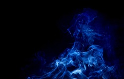 abstract white smoke on black background, smoke background ,blue smoke background, blue ink