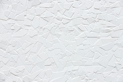 Abstract white stone wall background, Mosaic cracked texture pattern, Outdoor grey rough rocks wall, Can be used as background for display or montage your products.