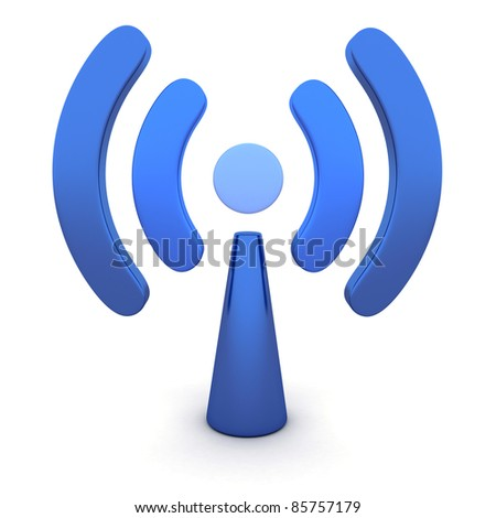 Abstract Wi-fi on white background (done in 3d)