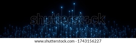 Abstract wide digital background. Neon glowing lines, luminous rays in motion, technology, network connection concept. Beautiful fireworks, colorful explosion, big bang. Falling stars. 3d rendering