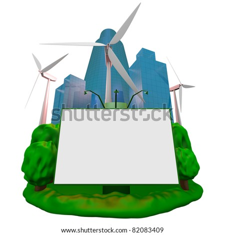 Abstract: wind-turbines, building and billboard