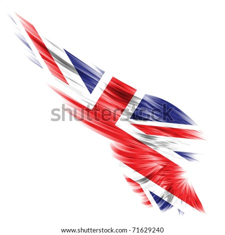 Abstract wing with United Kingdom flag on white background