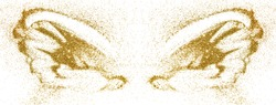 Abstract wings of gold glitter on white background