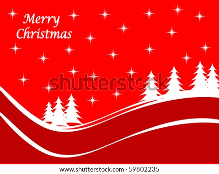 Abstract winter scene with a red background snowy christmas trees.