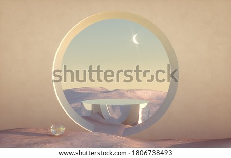 Abstract winter scene with geometrical forms, arch with a podium in natural light. minimal background. surreal background. 3D render.