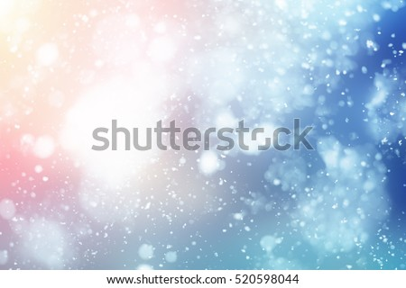Abstract winter snow background.Christmas blue sky and sun