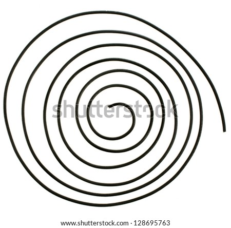 abstract wire spiral close up  isolated over white background