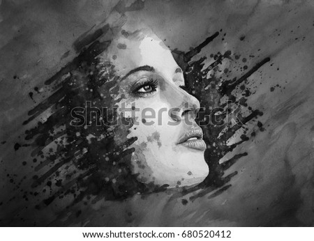 Stock Photo Abstract woman face. Watercolor painting.