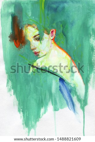 abstract woman. fashion illustration. contemporary watercolor painting