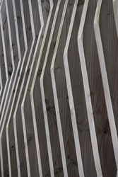 Abstract Wood Lines And Stripes. Architecture Detail. Light And Shadow. Gray Color Background.