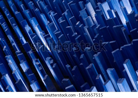 Abstract .Wooden planks.Concept megapolis night city or crystal.Blue