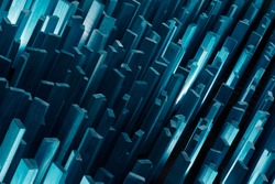 Abstract .Wooden planks.Concept megapolis night city or crystal.Cyan