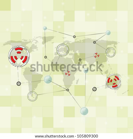 Abstract world map in technology concept background